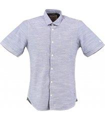 garcia blauw slim fit overhemd