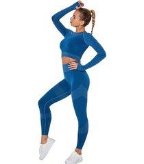 strój fitness fun kolor niebieski legginsy i top