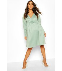maternity occasion smock dress, sage