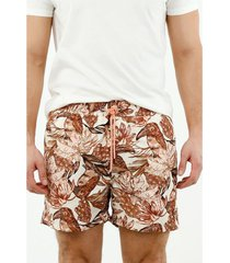 pantaloneta de baño de hombre, silueta confort, con estampado de tucán