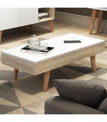 mesa de centro basculante leaves 1002 aveiro/branco - bentec