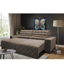 sofã¡ 2,72m retrã¡til e reclinã¡vel com molas cama inbox plus tecido suede velusoft castor - incolor - dafiti