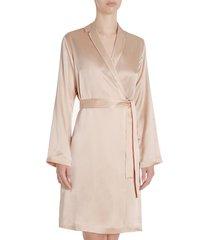 women's la perla short silk robe, size large - pink