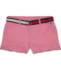 big girls twill shorts with belt