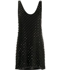 balmain studded beaded mini dress - black