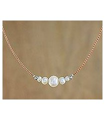 cultured pearl beaded pendant necklace, 'snowy grace' (thailand)