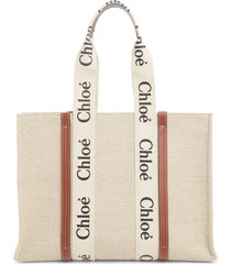 chloe large woody logo strap canvas tote in white-brown at nordstrom