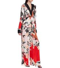 bytimo women's floral drape jumpsuit - patchwork - size xs