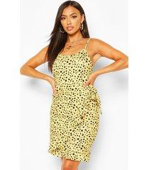 animal spot print strappy wrap mini dress, yellow