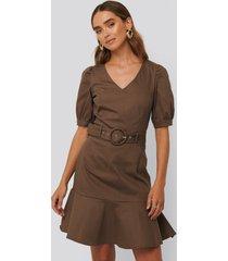 trendyol belt detailed mini dress - brown