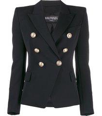 balmain structured embellished button blazer - black