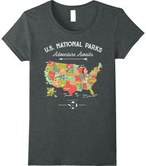 national park map vintage t shirt - all 59 national parks women