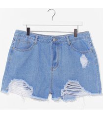 womens best distressed plus denim shorts - light wash
