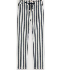 scotch & soda cotton-linen trousers loose tapered fit