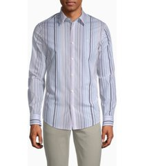 calvin klein stretch cotton multi-stripe button-down shirt