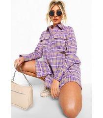 geruite blouse jurk, purple