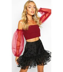 organza puff sleeve crop top, wine