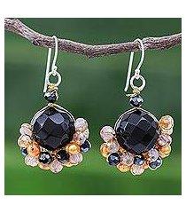 onyx and cultured pearl dangle earrings, 'vivid dream in orange' (thailand)