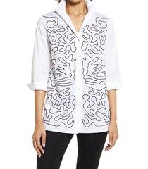 women's ming wang embellished tunic blouse, size medium - white