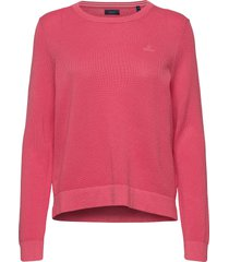 cotton pique c-neck gebreide trui roze gant