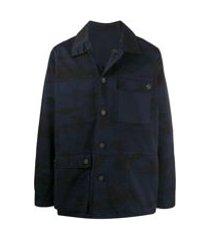 acne studios jaqueta dupla face com estampa camuflada - azul