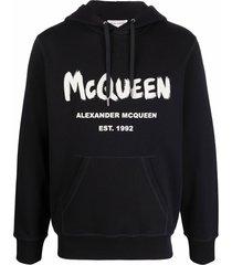 alexander mcqueen graffiti prt hoodie