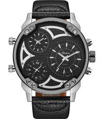 orologi da uomo grandi di oulm orologi al quarzo in pelle stile militare orologi da polso con più fusi orari