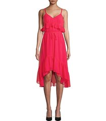 ruffle v-neck hi-lo dress