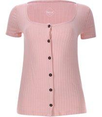camiseta acanalada con botones color rosado, talla 6