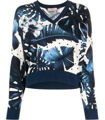 twin-set suéter com estampa floral e tachas nas mangas - azul