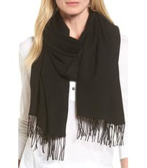 women's nordstrom tissue weight wool & cashmere scarf, size one size - black