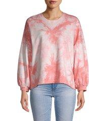 rebecca minkoff women's tie-dyed cotton sweater - pink tie dye - size xl