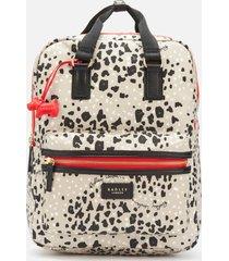 radley women's leopard oilskin large ziptop backpack - aluminium