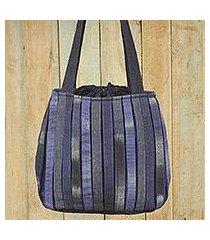cotton shoulder bag, 'orient blue' (thailand)