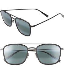 maui jim following seas 53mm polarized square sunglasses in black gloss/black matte at nordstrom