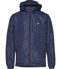 geo print zip through hooded jacket dun jack blauw lyle & scott
