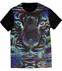 camiseta elephunk estampada animal print neon preta - kanui