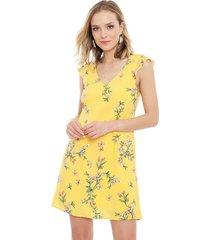 vestido io  corto amarillo - calce regular