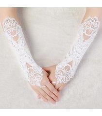 abiti da sposa da sposa da donna guanti ricamati senza spillo