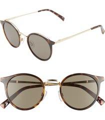 women's le specs tornado 48mm polarized round sunglasses - tort/ khaki mono