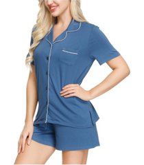 ink+ivy women's notch pajama top and short set