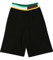 fendi black teen bermuda with multicolor band at the waist