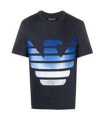 emporio armani camiseta com logo grande - azul