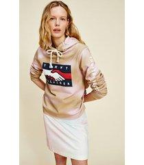 tommy hilfiger women's one planet hoodie gentle gold / pastel pink - xs
