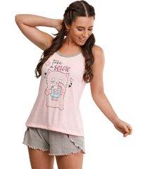 pijama short doll regata selfie feminino luna cuore premium