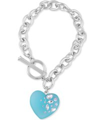 guess crystal-frosted heart charm link bracelet