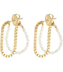 freshwater pearl moonstone gold plated chain demilune hoop earrings
