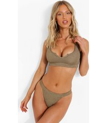 gekreukelde bikini top met vollere cups en inkeping, light khaki