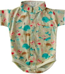 body camisa social blue kids fundo do mar bege