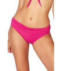 women's bleu by rod beattie kore sarong hipster bikini bottoms, size 10 - pink